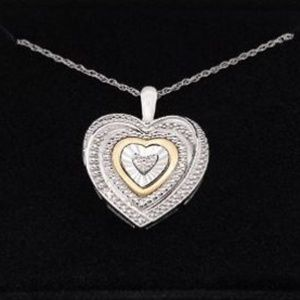 Diamond Accent Two Tone Heart Pendant Necklace
